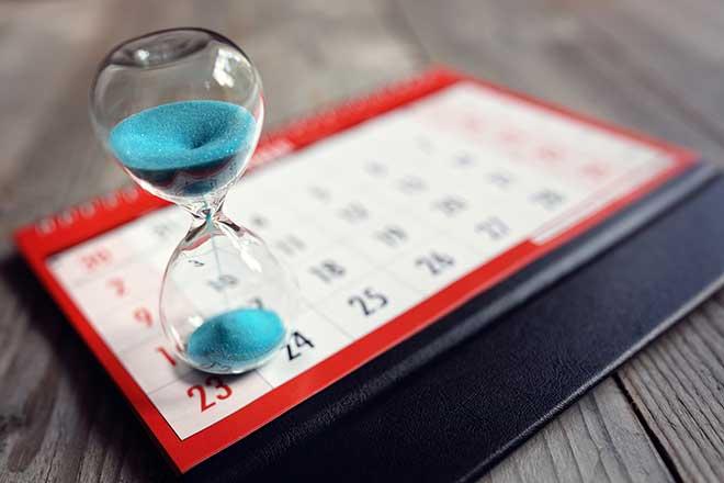 hourglass on a calendar
